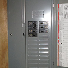 Electric service sub-panel inside a building