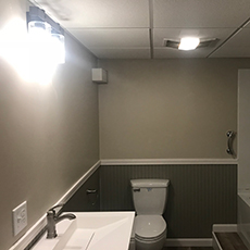 Bathroom vanity wall sconces and exhaust fan